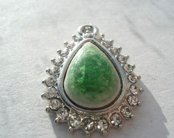 31mm Flat Drop Alloy Porcelain Pendant, Green Pendant with Rhinestones, C394