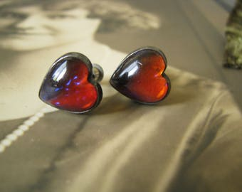 Beautiful Vintage Sterling Silver Rare Red Dragon's Breath Mexican Opal Heart Screw Back Earrings
