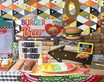Burger Party - Vans, modern, hamburger, fries - printable party kit  - PDF