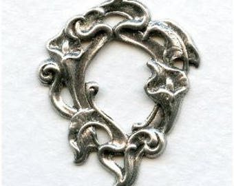 Amazing Oxidized Silver Stamping Includes Calla Lilies,  Art Nouveau Theme,  36x28.5mm Outer ,Open I6x10mm, X1
