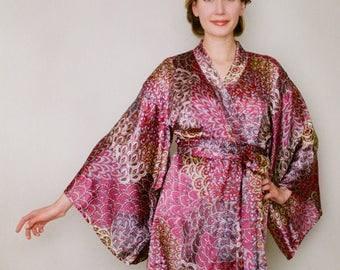 "One Ready-made ""Noguchi"" kimono robe in satin. Champagne Bridal lingerie Bridal chinoiserie robe Bridal provencal kimono, US size 4-6"
