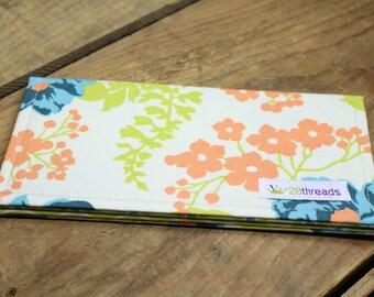 Checkbook Cover, Fabric Wallet, Coupon Holder, Teacher Gift, Womens Checkbook, Money Holder, Fabric Checkbook, Cash Envelope, Check holder