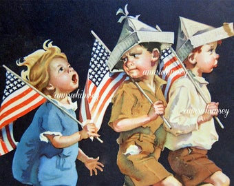 Art Print Sister and Brothers Yankee Doodle Dandy Fourth of July #447
