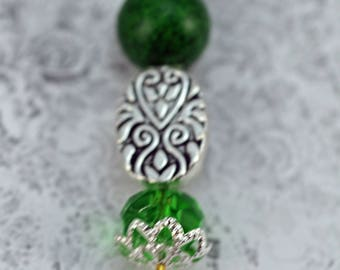 Handmade Hat or Stick Pin, Christmas  Stick Pin, Green and Silver Stick Pin  (BB)