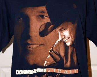 Vintage 1990s George Strait Country Music Festival T-Shirt - Size XL - 100% Pre-Shrunk Cotton - Gildan Activewear