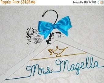 Christmas in July Jasmine & Aladdin Themed Wedding Hanger, Disney Princess Wedding, Personalized Bridal Hanger, Gift, Wire