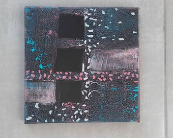 Abstract painting 'Night stretch square' black blue pink silver