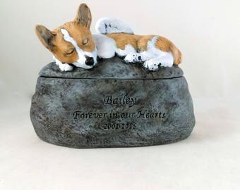 Corgi - Ceramic Hand Sculpted and Painted Dog Cremation Urn  -Pet hand made urn