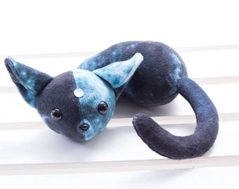 Blue Sleeping Galaxy Kitty Stuffed Animal, Plush Toy, Kitty Plushie, Galaxy Print, Stuffed Cat - With Gem