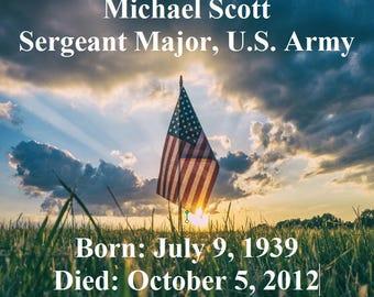 25 Flag Memorial/Funeral Personalized Keepsake Magnets