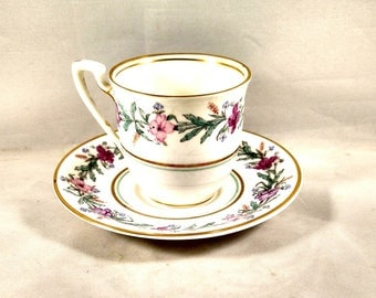 Royal Worcester English Bone China Demitasse Cup/Saucer. Floral Motif, Gold Trim. Wedding Gift, Housewarming Gift, Get Well Gift