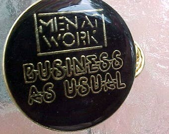 1981 MEN AT WORK Business As Usual Hat Pin New Wave Pop Rock From Australia Band Music Memorabilia Scarce Cool Collectible Vegimite Sandwich