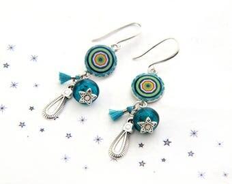 dangling sequins enamel Pearl spun glass teal turquoise tassel earrings