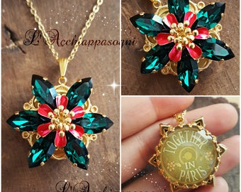 NEW Anastasia Together In Paris Necklace - Anastasia cosplay - Once Upon a Dicember - Romanov - flower - EMERALD green