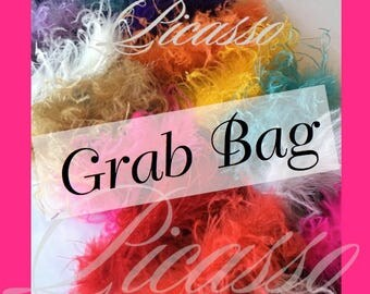 """Curly Ostrich Strips 10 Pack Grab Bag - 6"""" Curly Ostrich Feathers STRIPS - RANDOM Selection from our collection of 25 colors"""
