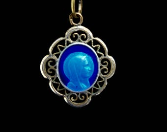 Antique French Blue Enamel Holy Medal