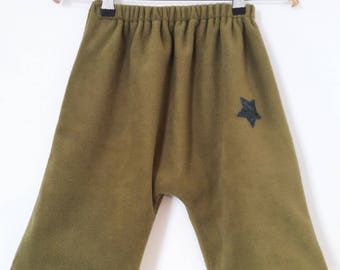 12 months in pistachio green fleece pants