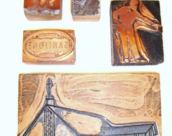 FOLK PRIMTIVE Vintage or Antique Wooden Printer's Blocks with Varying Graphics Rustic AMERICAN Gothic