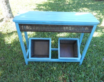 Sofa Table With Baskets   Aqua Painted Accent Table With Storage Baskets   Table With Storage