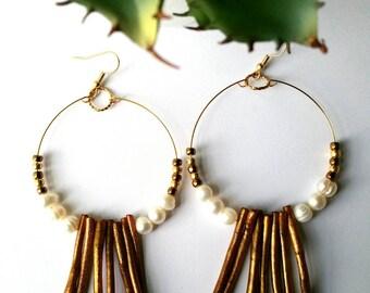 Hoop Earrings, Bronze Coral and Pearl