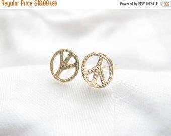 SALE - Peace studs - Peace stud earrings - Gold peace earrings - Peace sign earrings