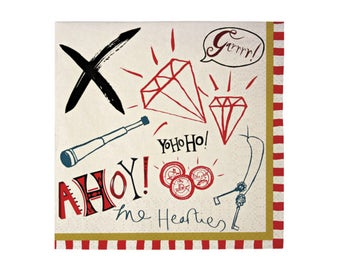 Ahoy There Pirate Napkins - birthday party paper napkins nautical boy
