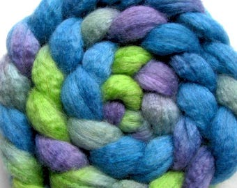 BFL/Tussah Silk Spinning/Felting Fiber 4 oz. Hand Painted