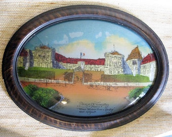 Versailles Peace Treaty, WWI, Convex Glass, Reverse Painted, Antique, as is