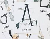 Alphabet Adventure Flash Cards// outdoors - girls room decor - boys room- baby boy girl- school room- stocking filler stuffer - Black Friday