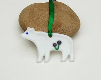 Fused Glass Bear Ornament