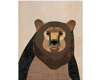 Bear Print - Collage Illustration Art Print