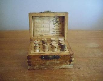 Vintage Wooden Watchmaker Box with 12 Vials