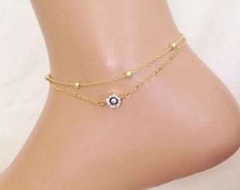 Gold Plated Evil Eye Anklet, Amulet Charm Gold Anklet, Birthday Gift, Gift for Her, Summer Jewelry, Evil Eye Jewelry, Evil Eye Anklet, Foot