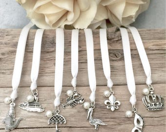 New Orleans Ribbon Cake Pulls // Set of 8 // Wedding // Charms