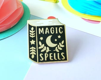 Spell Book Enamel Pin. Magic Spells Enamel Pin. Book Pin. Witchcraft and Wizardry. Book Lover. Bookworm. Literary Pin. Bookish Pin. Grimoire