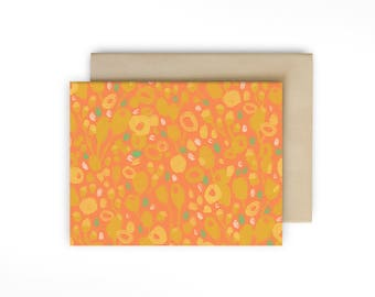 Blank Floral Note Card - Everyday Greeting Card with hand painted flowers
