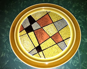 Cool abstract brutalist Set of 6 DINNER PLATES by Noritake SUNDANCE pattern 1960s early 1970s