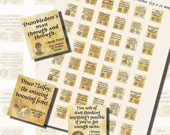 Harry Potter Quotes, SCRABBLE TILE SIZE (.75 x .83 Inches or 19 x 21 mm), 24 Illustrations Included