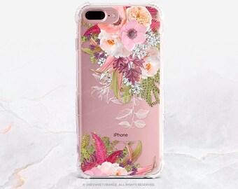 iPhone 7 Case Summer Floral Clear GRIP Rubber Case iPhone 7 Plus Clear Case iPhone 6 Case iPhone 6S Case iPhone SE Case Samsung S7 Edge U247