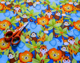 Jungle Fabric, Elephants, Lions, Tigers, Monkeys/Children's Material/Quilting, Clothing, Craft/Fat Quarter, By The Yard, Yardage