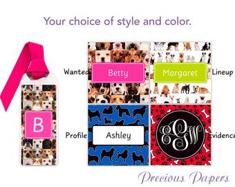 Personalized bookmarks dog print bookmark, dog bookmark, dog gifts, teenager gifts, pet lover gifts