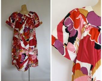 Sale Vintage 1970s Muu Muu Dress / Deadstock Bohemian Dress / Hawaiian Floral Muu Muu / Festival Flowers Sundress L/XL One Size