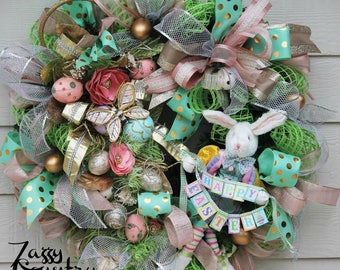 Easter Bunny Wreath, Easter Floral Wreath, Easter Wreath