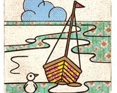 Dinghy 148x148mm Postcard Seaside Holidays Boat Sailing Seagull