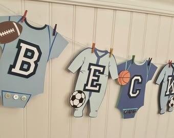 Sports one piece clothesline sports banner nursery decor boy baby shower football soccer basketball baseball