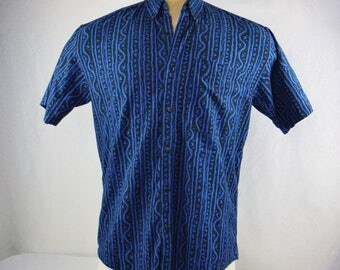 Vintage 80s 90s Men's Gap Short Sleeved Black Blue Button Down Size Small