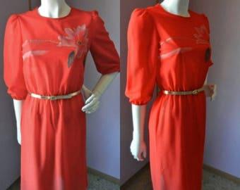 50% Off Closing Shop Sale Vintage 1970's Paper Moon Red Flower Burst Secretary Dress with Gold Belt