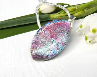 Pink and Blue Dichroic Glass Pendant, Fused Glass Jewellery, Art Glass Necklace