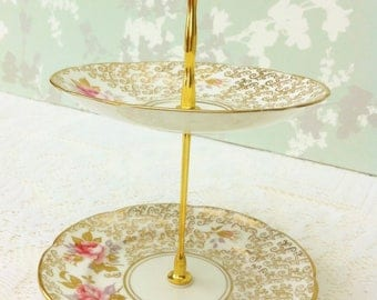 Gold 2 Tier Mini Cake Stand with Pastel Roses