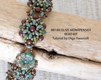 Bead Kit BB-189 Olive Montpensier Bracelet, Tutorial by Olga Haserodt, Olive Montpensier Bead Pack BB189